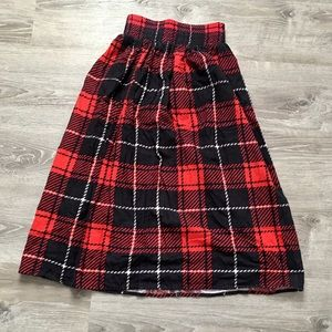 Red Plaid Vintage Cotton Skirt Size Small